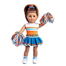 Cheerleader - 6 piece cheerleader outfit includes blouse, skirt, headband, pompons, socks and shoes - American Girl Doll Clothes