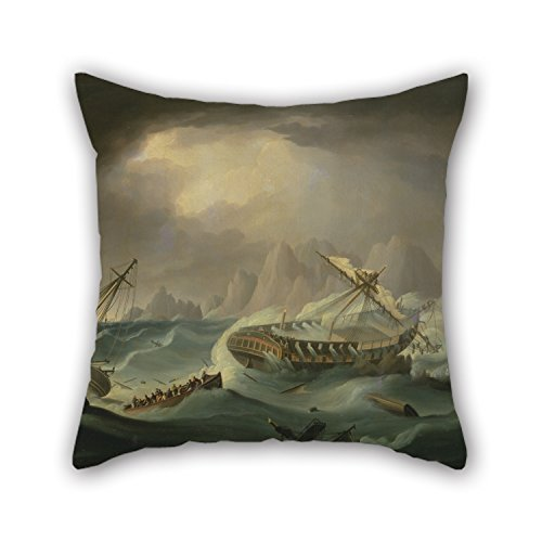 20 X 20 Inches / 50 By 50 Cm Oil Painting Thomas Buttersworth - Shipwreck Off A Rocky Coast Pillowcover Twice Sides Ornament And Gift To Lounge Girls Dance Room - Mountain Furniture Rocky Log