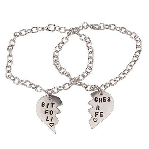 Lux Bitches for Life Heart BFF Best Friends Forever Bracelet Set (2 (Pokemon Friendship Bracelet)