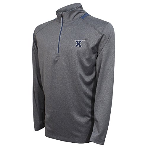 Crable NCAA Men's Quarter Zip with Team Neck Panel,Xavier Musketeers,Heather Gray/Navy,X-Large ()