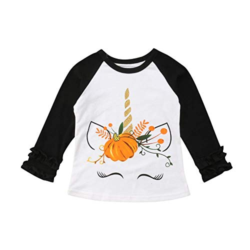 Baby Kids Girl Unicorn Halloween Pumpkin Car Print Ruffle Polka Dot Long Sleeve Cotton T-Shirt Top Outfits (Black, 4T) -
