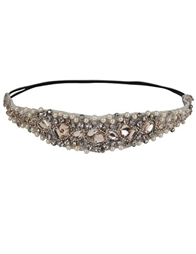 Dahlia Women's Elastic Headband - Dazzling Rhinestone Faux Pearl - Champagne