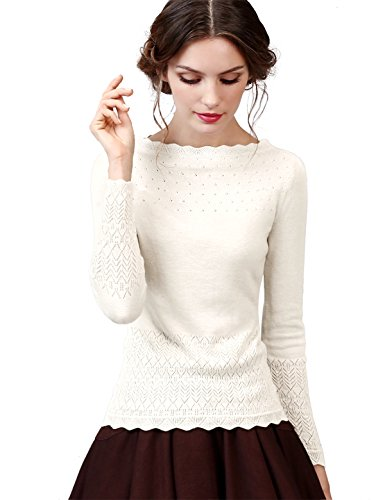 Artka Women's Vintage Slim Knit Wool Blend Sweaters Pullover with Long Sleeves Base Layer Tops, Color: White,Large