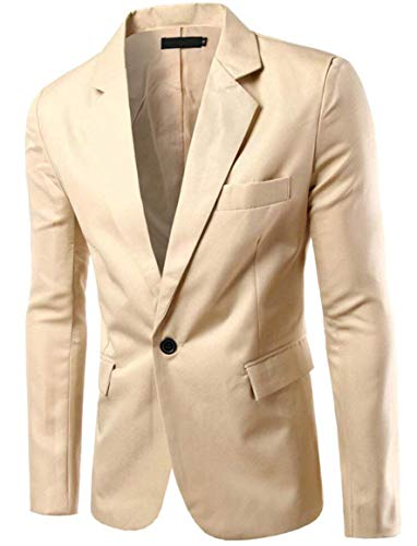 Men Khaki Chic Suit Slim Leisure Jackets Men's Blazer Single Fit Business With Casual Stylish Breasted 8q4F6