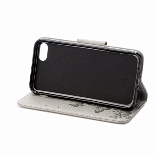 Custodia Apple iPhone 7 Cover Case, Ougger Fiore Farfalla Portafoglio PU Pelle Magnetico Stand Morbido Silicone Flip Bumper Protettivo Gomma Shell Borsa Custodie con Slot per Schede (Grigio)