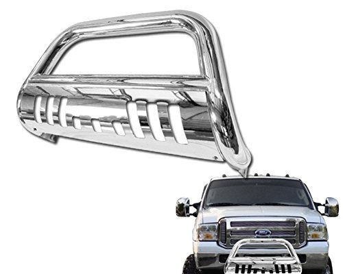 Stainless Steel Front Bumper Bull Bar Guard (Chrome) For 2005-2007 Ford F250 / F350 / F450 / F550 Superduty Models; 2005 Ford Excursion All Models