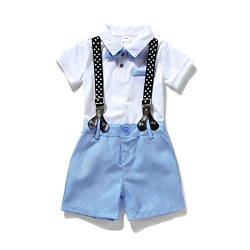 Miniowl ® Toddler Boys 2 PCS Set Gentleman Bowtie Polo T-shirt Bid Shorts Overalls (2t, White) by Miniowl