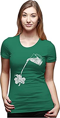 Womens Pouring Shamrock T Shirt Funny St Patricks Day Shirt for Girls