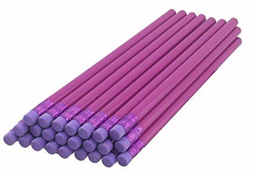 ezpencils - Light Purple Barrel Round Pencils with Puprple Eraser and Purple Ferrule - 36 pkg - Non-Smudge Eraser - # 2 HB Lead - Unsharpened - Non-Branded