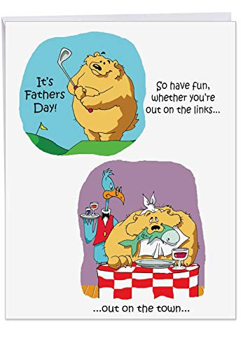 Humorous 8.5 x 11 Inch Father's Day Card with Envelope - ?Out Cold?? - Thank You Gift to Dad and Fathers from Son, Daughter and Siblings (Jumbo) J0238 -