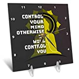 3dRose Amar Singha Art - Quotation - An Inspiring Quotation For The Meditation - 6x6 Desk Clock (dc_289492_1)