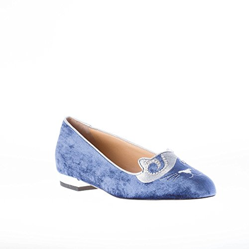 In Velluto Donna Con On King Slip Blu Ballerina Kitty Olympia Cristalli Charlotte 05qH88