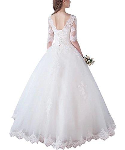 Femmes Manches Un Appliques Demi-ligne Robes De Mariée En Dentelle Pour Les Robes De Mariage De Mariée Ainidress Blanc