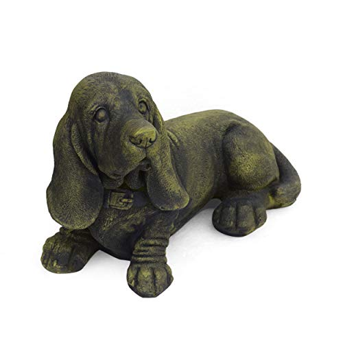 - Great Deal Furniture 309257 Dayton Outdoor Basset Hound Dog Garden Ornament, Antique Green Finish