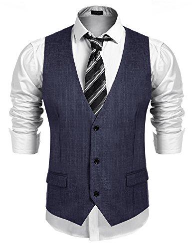 COOFANDY Men's Business Suit Vest,Slim Fit Skinny Wedding Waistcoat (Medium, Blue) (Men Mens Suits Vests)