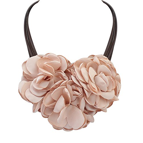 Lady Bohemia Exaggerated Pink Flower Double Cloth Art Elegant Necklace Winter Sweater Collarbone Chain (Wrap Double Haley)
