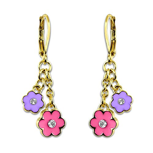Girls Enamel Flowers & Crystals Earrings 18kt Gold Plated Dangle Earrings Fashion Jewelry for Girls