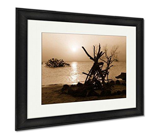 Campfire Framed (Ashley Framed Prints Camp Fire On The Beach, Wall Art Home Decoration, Sepia, 34x40 (frame size), Black Frame, AG6212434)