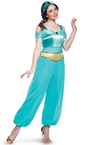 Adult Disney Jasmine Costumes (Disney Women's Jasmine Deluxe Adult Costume, Turquoise, Medium)