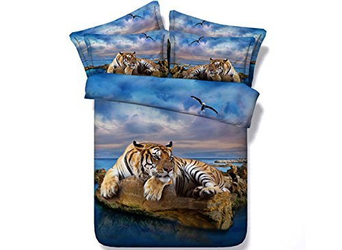 Ammybeddings 5 PCS Blue Full Duvet Cover with 2 Pillow Shams and 1 Sheet and 1 White Comforter,Digital Print 3D Tiger Bedding Sets Full/Queen/King,Blue&Yellow,Luxury Soft Stylish Decor Comforter Set
