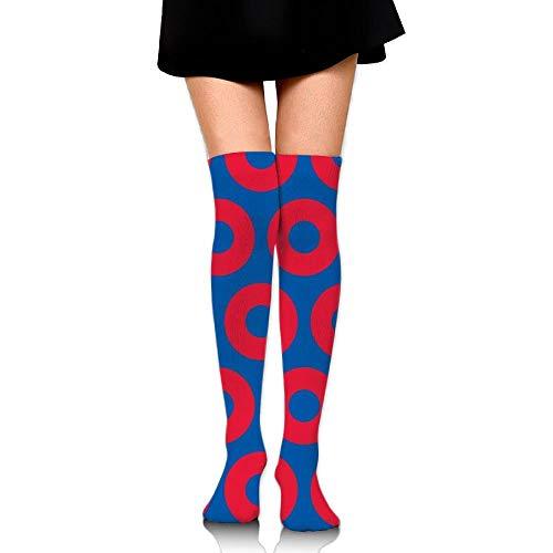 Women's Knee High Socks Fancy Design Multi Colorful Patterned Phish Circles Knee -
