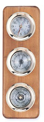 Clock, Barometer & Thermometer Brass Weather Station on Oak Wood Base -