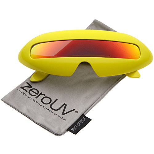 zeroUV - Futuristic Costume Single Shield Colored Mirror Lens Novelty Wrap Sunglasses 70mm (Yellow / Orange - Sunglasses Lense Single