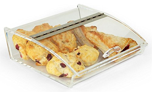 Displays2go Countertop Food Display Case with Curved Lid Clear Acrylic with Hinged Door and Non-Skid Rubber Feet (MHFBIN12)