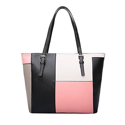 Promini Women's Designer Large Laptop Top Handle Structured Tote Bag Satchel Handbag Shoulder Bag - Pink Laptop Tote
