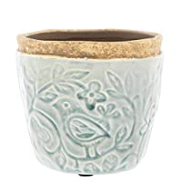 """Accents de Ville Sage Green Ceramic Planter Embossed with Birds Pattern, 4"""""""