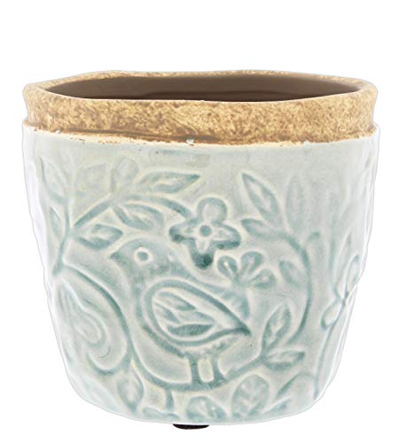 Accents de Ville Sage Green Ceramic Planter Embossed with Birds Pattern, 4