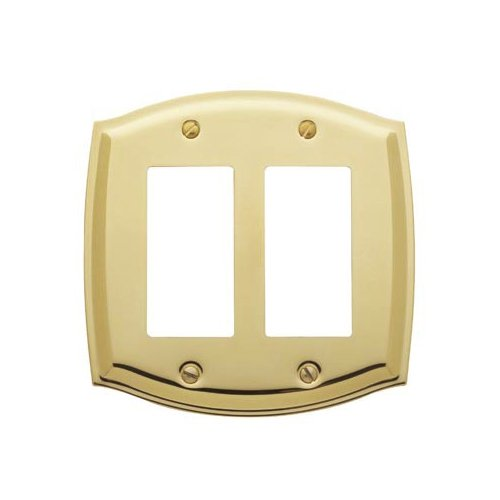 Baldwin 4787.030.CD Colonial Design Double GFCI Switch Plate, Polished Brass - Lacquered - Cover Solid Brass Switchplate