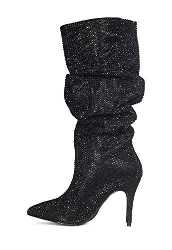 Lauren Lorraine Layzer Black Rhinestone Embellished Pointed Toe Slouch 3.5