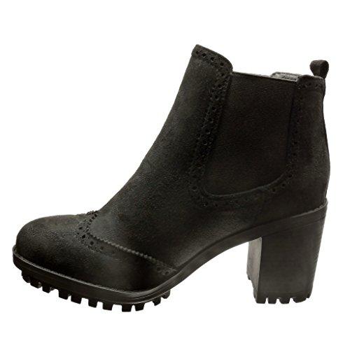 Angkorly - Scarpe da Moda Stivaletti - Scarponcini chelsea boots rangers donna perforato Tacco a blocco tacco alto 7 CM - Nero