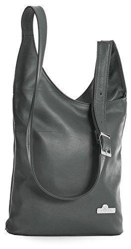 LIATALIA Womens Genuine Soft Italian Leather Long Shoulder Strap Cross Body Hobo Bag - KALEY Deep Grey