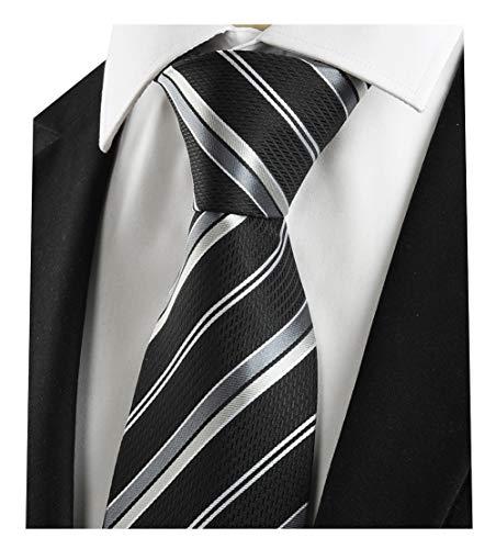 L04BABY Men's Classic Black Silver Striped Jacquard Woven 100% Silk Tie ()