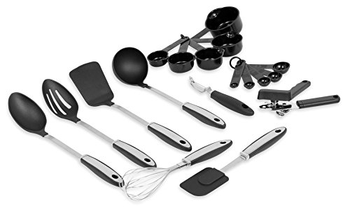 - Internet's Best Stainless Steel Utensils and Gadgets Set | 18-Piece | Whisk, Peeler, Spatula, Soup Spoons, Ladle, Can Opener, Measuring Cups and Spoons | Kitchen Equipment