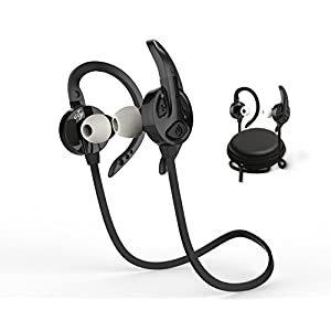 Jog Bluetooth Wireless Headphones | DeepBassX Beats HD Stereo Sound | Sweat & Water Proof Fit in Ear Workout Sport Earbuds | Noise Cancelling Running Earphones | Built in Mic | Play 6 hr.| Black