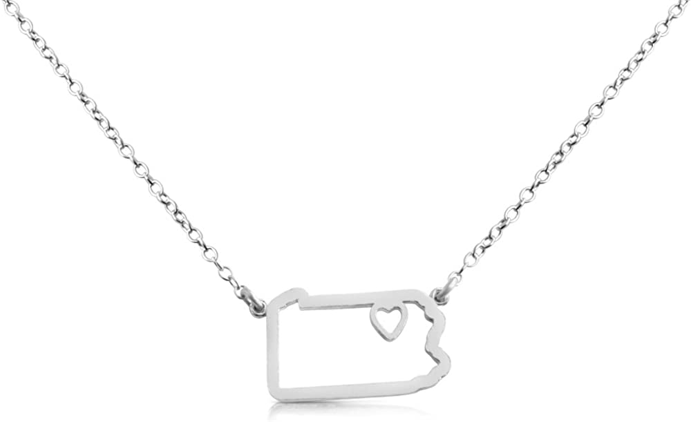 Belcho USA 925 Sterling Silver Small Pennsylvania -Home is Where The Heart is- Home State Necklace