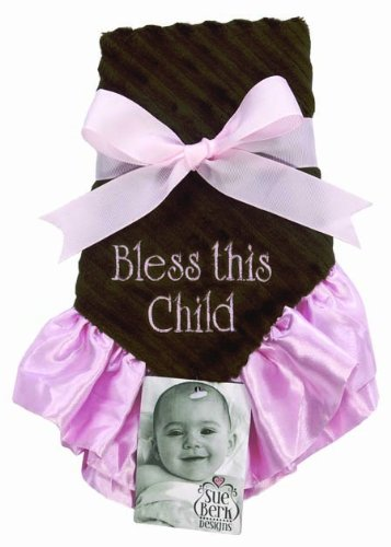 - Sue Berk Designs Bless This Child Baby Blankie, Pink/Brown