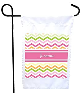 "Rikki Knight ""Jasmine"" Pink Chevron Name House or Garden Flag with 11 x 11-Inch Image, 12 x 18-Inch"