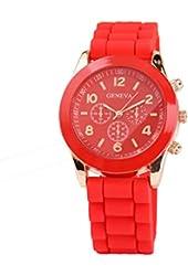 Geneva Red Silicone WristbandQuartz Watch
