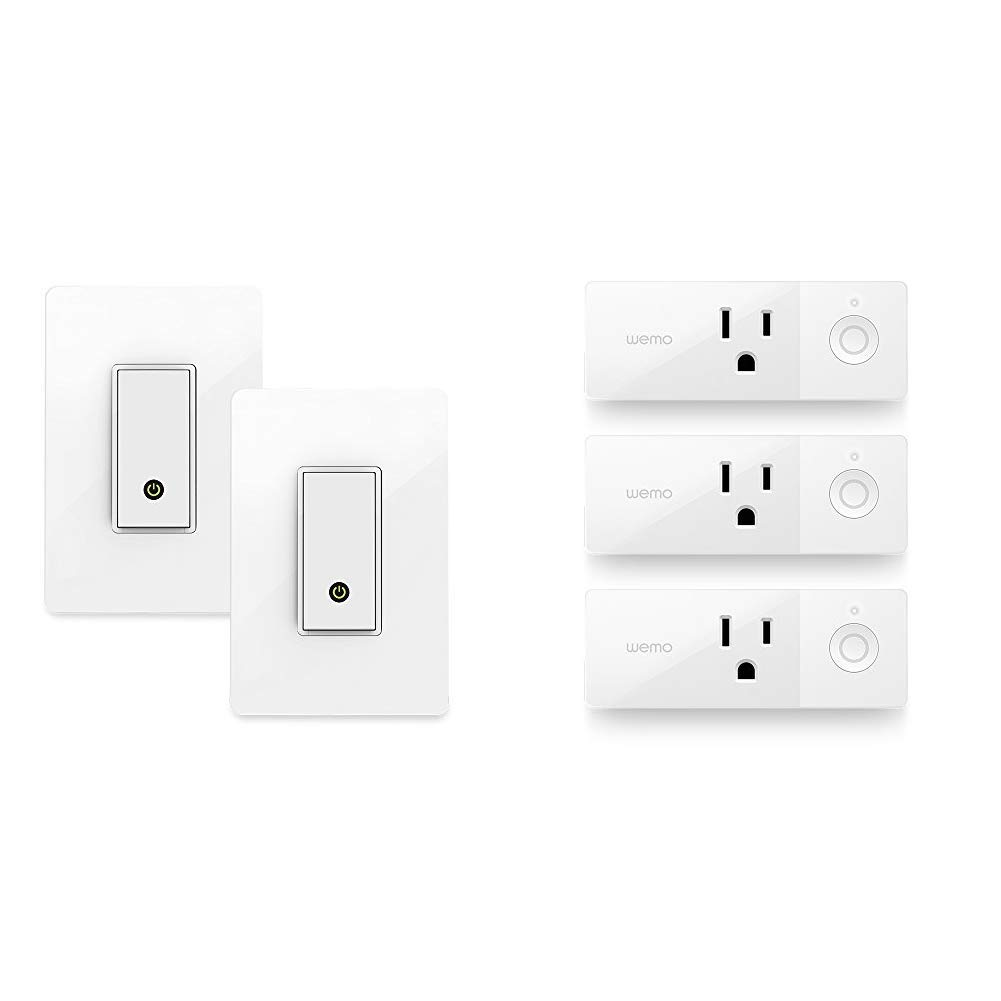 WeMo F7C030-BDL in-Wall Smart Switch, No Hub Required, 2-Pack & Wemo Mini Smart Plug 3-Pack, WiFi Enabled, Works Amazon Alexa The Google Assistant