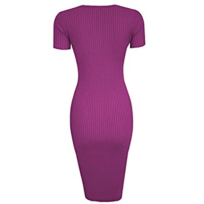 TAM WARE Womens Stylish Surplice Wrap Bodycon Knit Midi Dress at Women's Clothing store