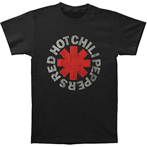 Red Hot Chili Peppers Men's Vintage Distressed Logo T-shirt Medium Black