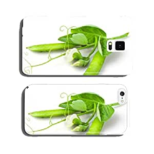 Pea with leaves, flowers and tendril on branch isolated on white cell phone cover case Samsung S5