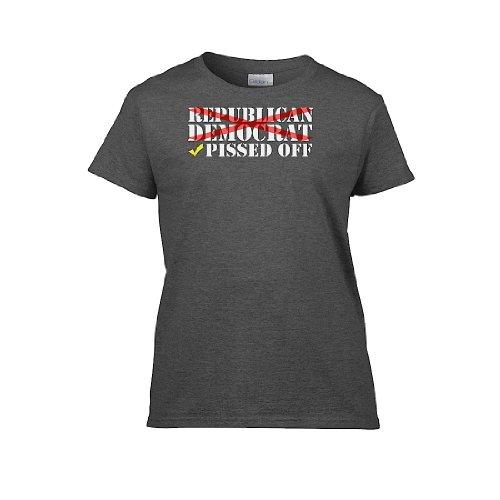 IamTee Womens Republican Democrat : Pissed Off T-Shirt-Charcoal-M