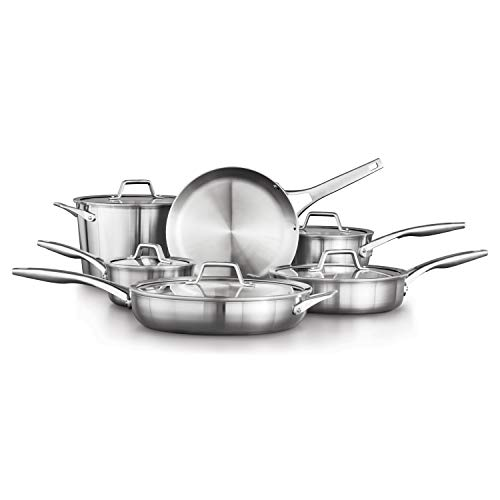 Calphalon 2029640 Premier Stainless Steel 11-Piece Cookware Set, Silver