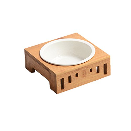 Smith Chu Premium Elevated Pet Bowls, Raised Dog Cat Feeder Solid Bamboo Stand Ceramic Food Feeding Bowl Cats Puppy ()