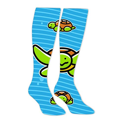 Knee High Stockings Cartoon Turtle Long Socks Sports Athletic for Man and Women -